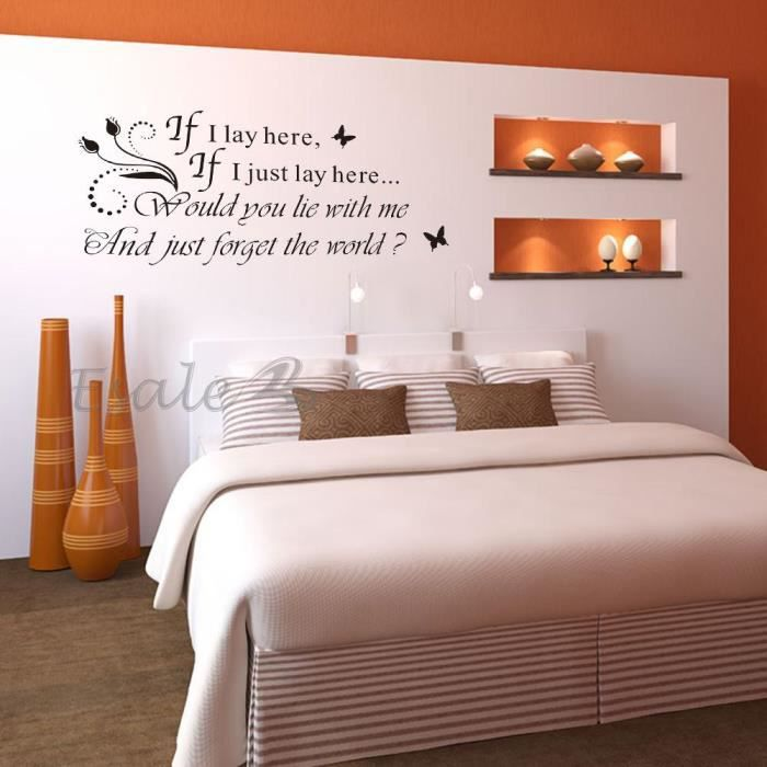 sticker autocollant mural etanche amovible mots papillon d co mur maison salon achat vente. Black Bedroom Furniture Sets. Home Design Ideas