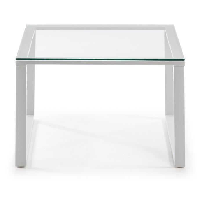 Table basse sivan 60x60 cm blanc achat vente table for Meuble 60x60