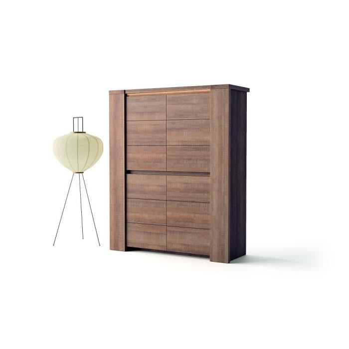 Armoire de salon derby ch ne brun achat vente meuble for Armoire salon