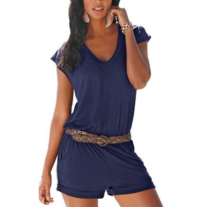 Tomwell Femme Combinaison Pantalon Loose Casual /Él/égante Manche Courte sans Bretelles Combishort Jumpsuit Grande Taille Romper avec Poche