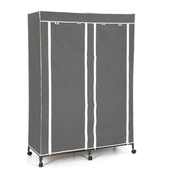 armoire de rangement v tement double gris paris prix. Black Bedroom Furniture Sets. Home Design Ideas