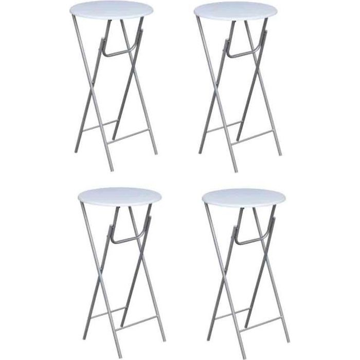 tabouret rond haut blanche pliable lot de 4 achat vente table de cuisine table de bistro. Black Bedroom Furniture Sets. Home Design Ideas