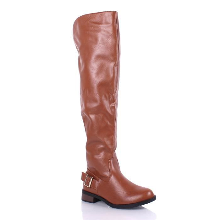 New Faux Leather Casual Zipper Open Buckles Fashion Over The Knee Boots Y5P5S Taille-39