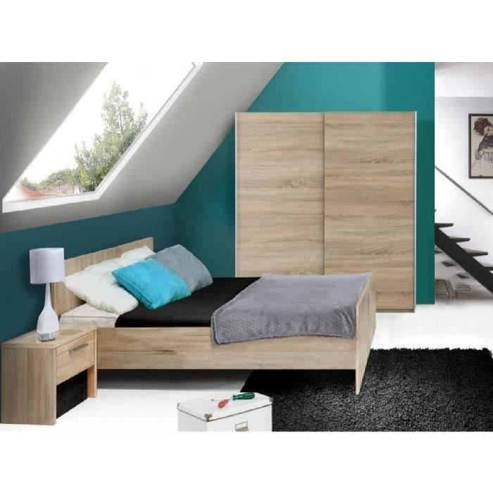 Capricia chambre adulte compl te 3 l ments lit armoire for Chambre adulte complete solde