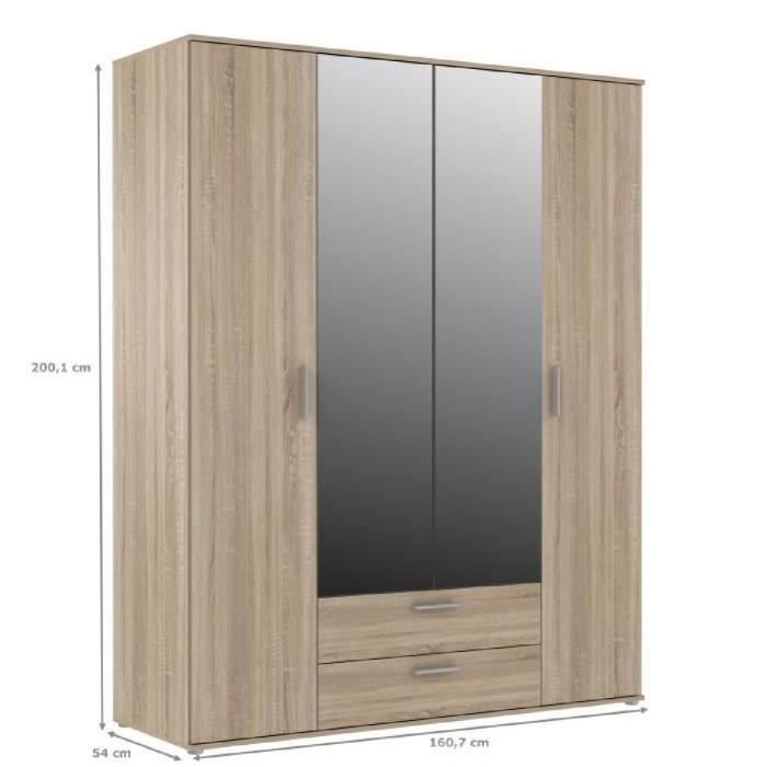 finlandek armoire de chambre selke 161 cm d cor ch ne. Black Bedroom Furniture Sets. Home Design Ideas