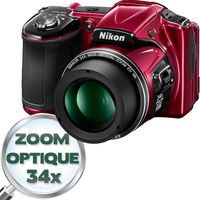 NIKON L830 Bridge Rouge - CMOS 16 MP Zoom 34x
