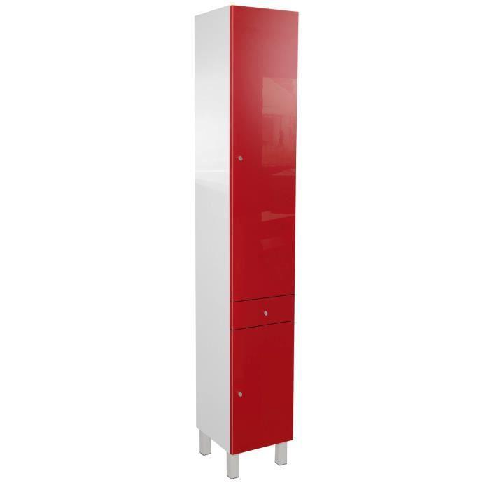 COLONNE - ARMOIRE SDB CORAIL Colonne de salle de bain L 30 cm - Rouge br