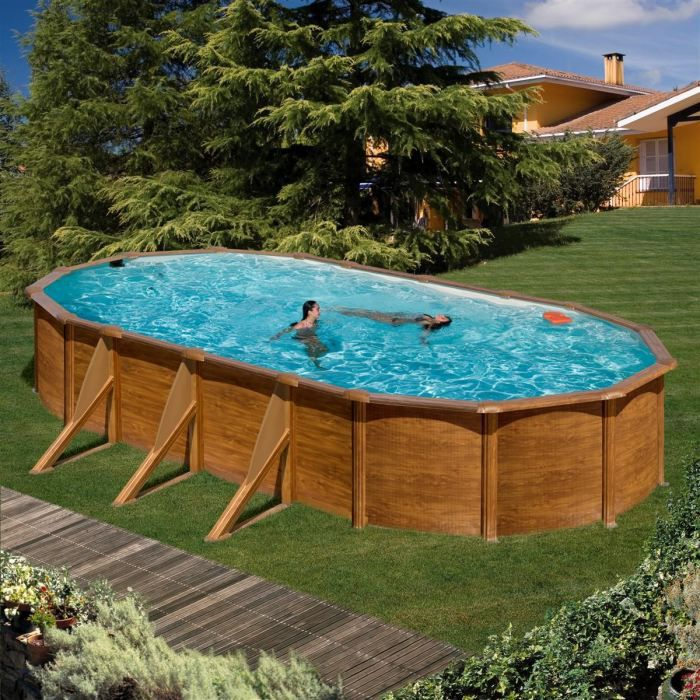 Gre piscine pacific ovale 730 x 575 cm h 120 imitation for Piscine acier imitation bois