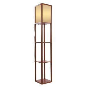 LAMPADAIRE AIZHIYUAN - Lampadaire en bois avec étagères pour