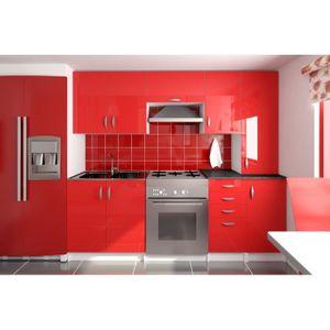 CUISINE COMPLÈTE AMANDA Rouge - Cuisine complète 220 cm