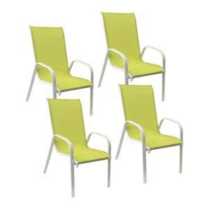FAUTEUIL JARDIN  Lot de 4 chaises MARBELLA en textilène vert/struct