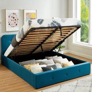 STRUCTURE DE LIT Lit coffre 140x190 cm bleu canard avec tête de lit