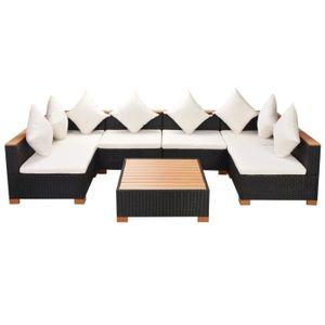 SALON DE JARDIN  ensemble de canapés en rotin de 21 pièces est une
