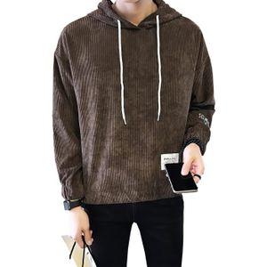 Sweat à capuche pour hommes mode en velours côtelé couleur