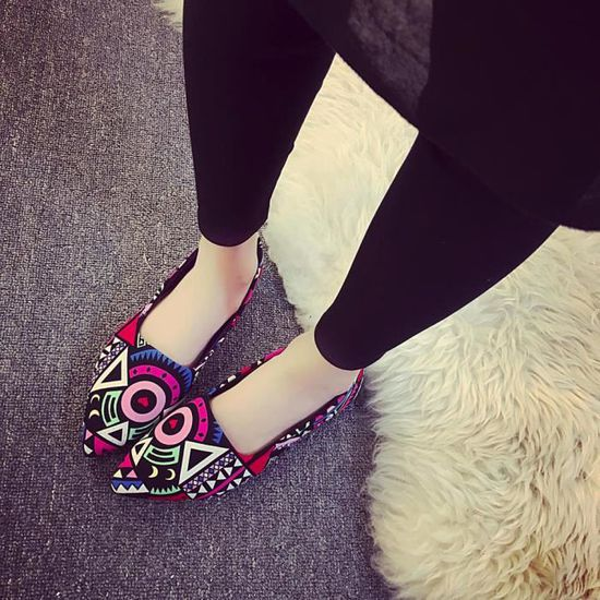 Chaussures@ Femmes Impression Chaussures plates pointues Multicolore + 36  Multicolore - Achat / Vente slip-on