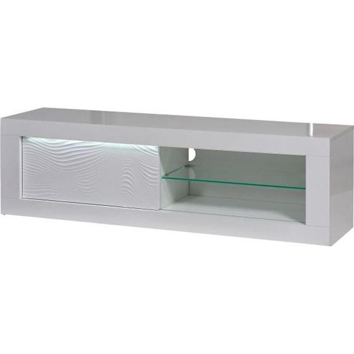 SCIAE Meuble TV 1 porte - Laqué blanc avec led - L 170 x P 45 x H 50 cm - KARMA