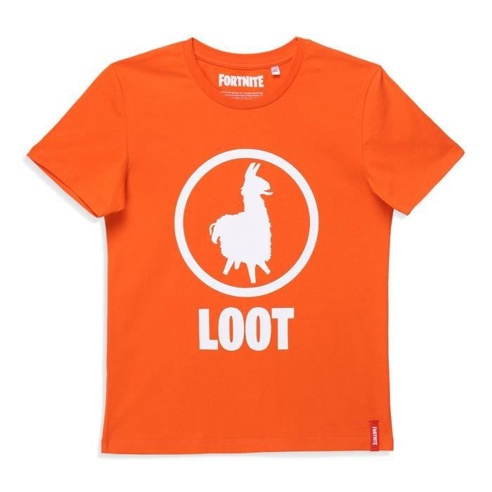 FORTNITE T-shirt Manches Courtes Orange Enfant Garçon