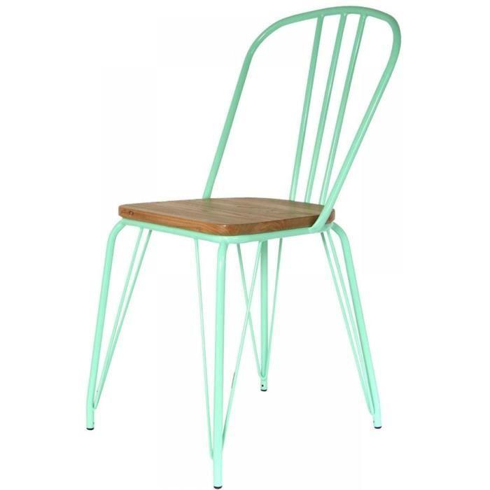 Lot de 2 chaises alliant métal et bois - Vert 102 cm
