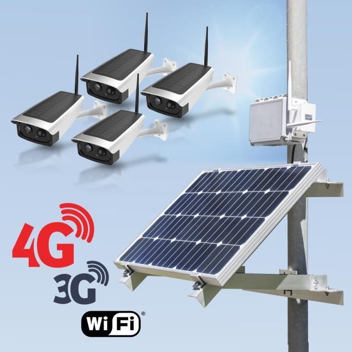 Kit vidéosurveillance 3G 4G autonome solaire avec 4 caméras solaires Wi-Fi HD 1080P 32 Go