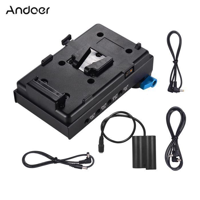 Adaptateur de plaque de batterie V-Lock Andoer à montage en V avec pince de tige à double trou de 15 mm Adaptateur de ba_Regisi