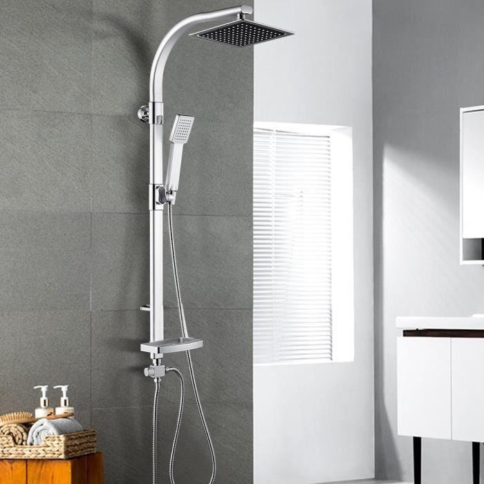 TONGJAA Colonne de douche 2 en 1 Douchette Salle de Bain avec Porte-savon 20 * 47 * 106 cm