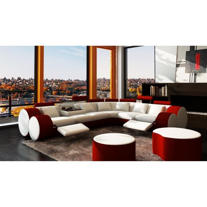 Canapé d'angle design cuir blanc et rouge relax ROMA