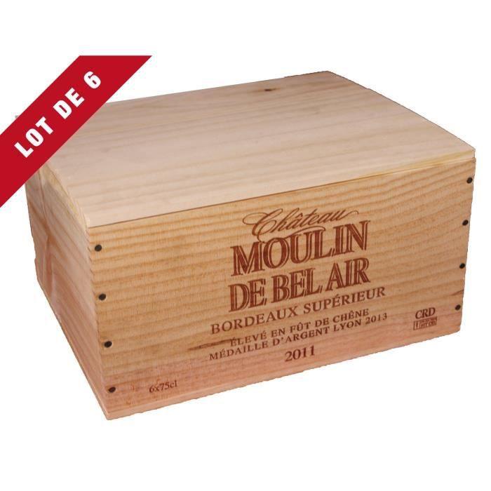 6X La Caisse Bois 6x75cl estampillé Château Moulin de Bel Air - coffret