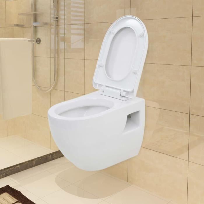 FURNI Super qualité WC suspendu en céramique Moderne Décor- Toilette Suspendue WC Suspendu Pack WC Cuvette Blanc 6626