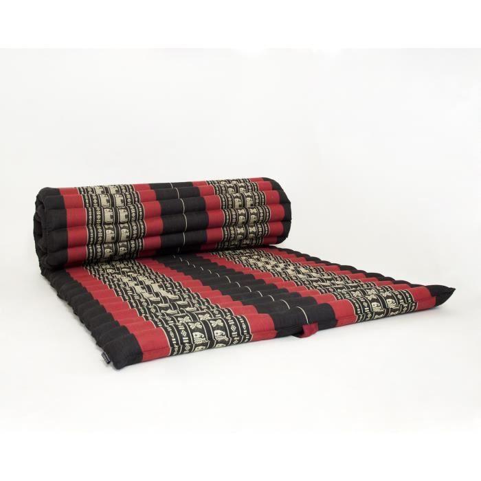 Tapis thaï enroulable, 200x76x5 cm, Kapok, Noir Rouge
