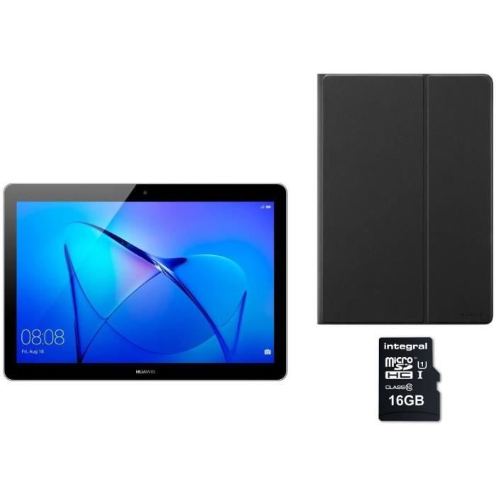 HUAWEI Tablette tactile MediaPad T3 10 - 9,6 pouces HD - RAM 2Go - Android 7 - Qualcomm MSM8917 - Stockage 16Go + Etui + Micro SDHC