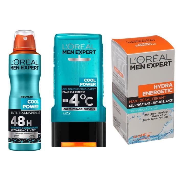 L'ORÉAL PARIS Men Expert - Lot Gel douche 300 ml + Déodorant spray Cool Power 50 ml + Soin hydratant Hydra Energetic 50 ml