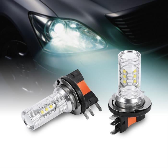 Phare de voiture 2pcs HID Blanc 80W H15 LED Ampoules Lumières Lampe -WAN