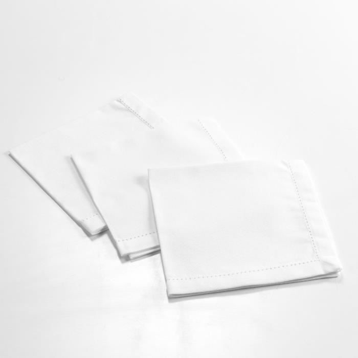CDaffaires 3 serviettes de table 40 x 40 cm coton uni charline Blanc