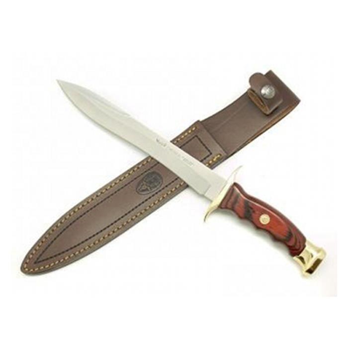 Couteau de chasse Muela Chevreuil lame CHEVREUIL-22R, MOVA 22 cm, manche en bois et laiton pressé corail carte cadeau multi-usages +