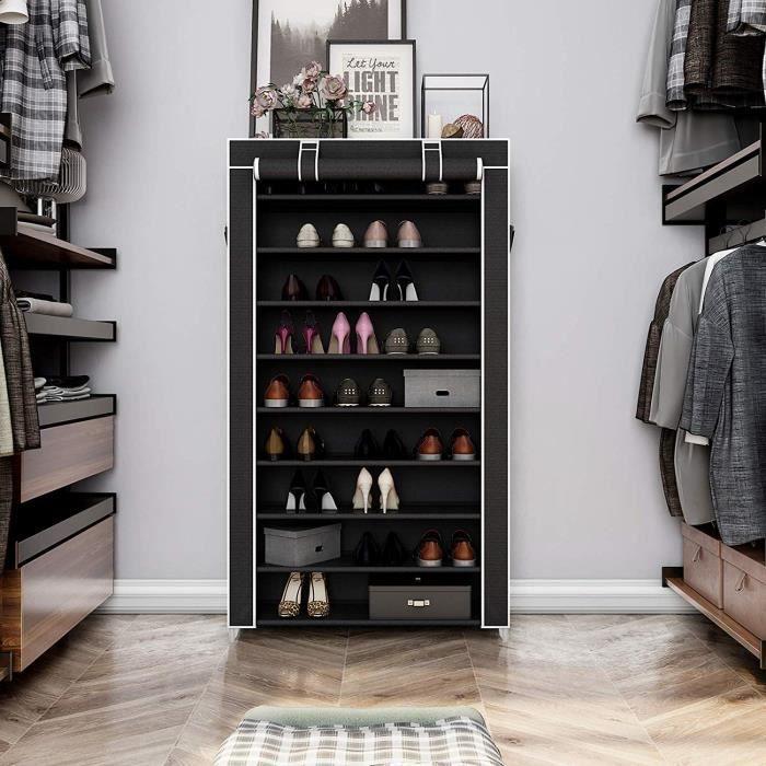 Ohlala Meuble à chaussures de neuf étages noir