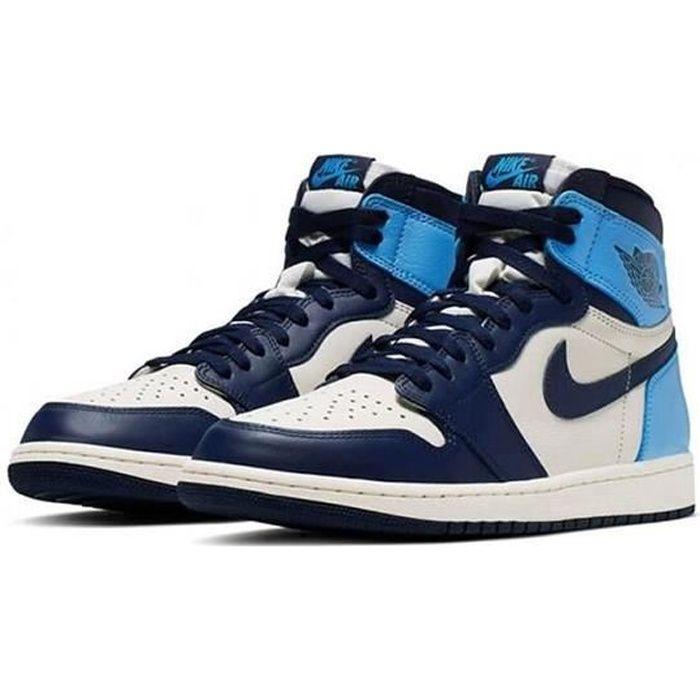 Nike Air Jordan 1 Retro High OG Chaussures de Basket Air Jordans One -Obsidian- Pas Cher AJ1 pour Femme Homme Bleu