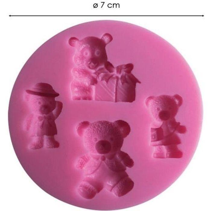 Moule silicone 3D Oursons pour pâte à sucre, cake design, décoration gateau...