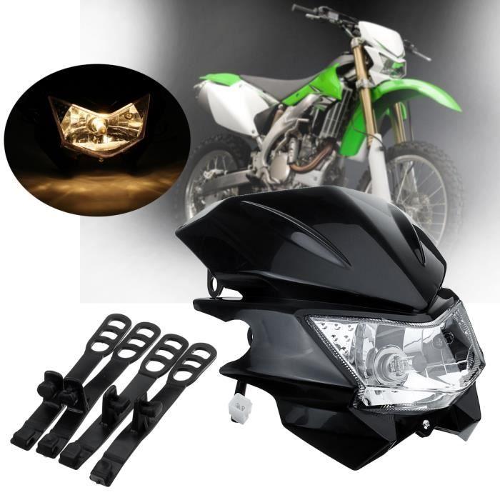 ROYAL-K Phare Moto Universel avec Sangles de Montage Pour Dual Sport YAMAHA Street Fighter Dirt Bike Noir