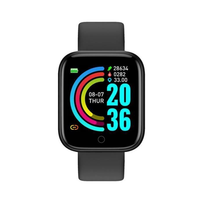 Montre intelligente de sport Hryfine App Plusieurs modes sportifs Étanche au quotidien Grand écran Noir