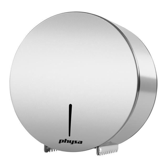 Dérouleur de papier toilette WC Physa FOGGIA SILVER (inox pour rouleaux géants avec système de verrouillage clé inclue)