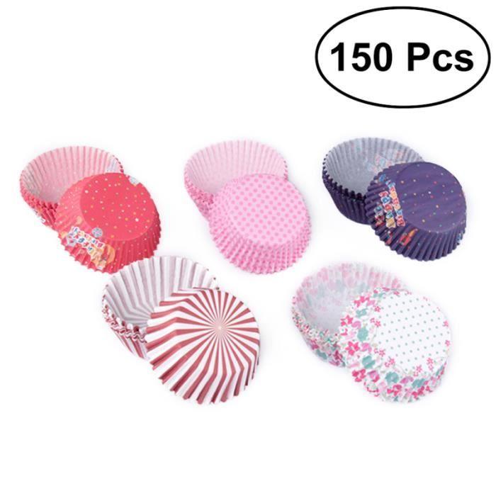 150 pièces / paquet tasses de cuisson en papier divers styles doublure de cupcake pour la décoration GATEAU PATISSIER