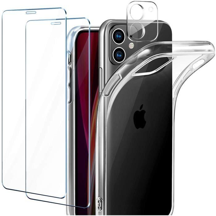 Coque iPhone 12 , [Pack de 2] Verre Trempé Protection écran + [Pack de 1] Verre Trempé Caméra Arrière Protecteur,Transparent Silicon