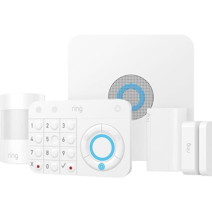 RING Kit alarme maison - 5 pièces - Sans fil, filaire - ZigBee, Wi-Fi, Z-Wave - Ethernet - Blanc