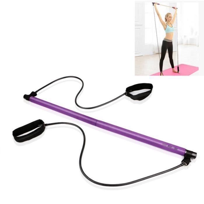 TD® Bâton de fitness Pilates, bande de résistance au yoga, corde de traction en plastique, Appareil de fitness Pilates Bar violet