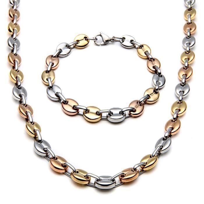 CW12338-Collier + bracelet grains de café Or acier