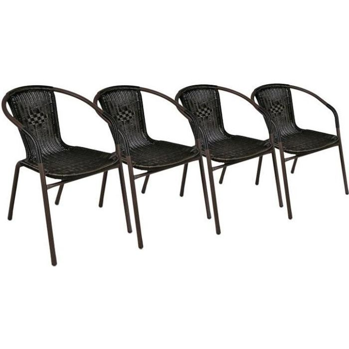4 x chaises bistrot poly rotin empilable achat vente chaise marron cdiscount. Black Bedroom Furniture Sets. Home Design Ideas