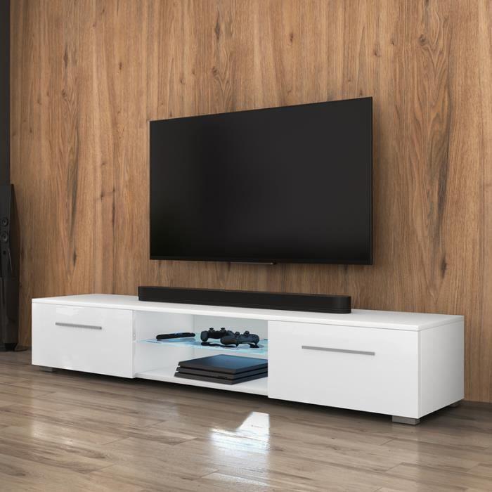 Meuble TV / Meuble salon - SYVIS - 140 cm - blanc mat / blanc brillant -  avec LED - style moderne