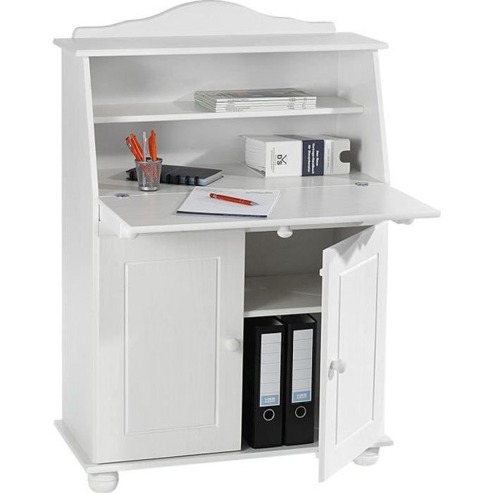 bureau secretaire blanc achat vente bureau secretaire blanc pas cher cdiscount. Black Bedroom Furniture Sets. Home Design Ideas