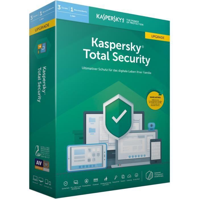 SYSTÈME D'EXPLOITATION Kaspersky Logiciel Total Security 2019 3 licence(s