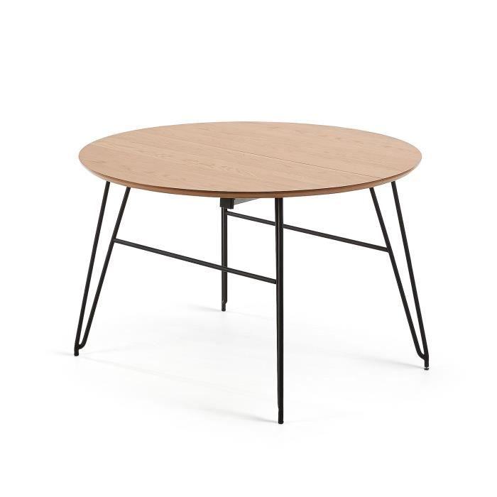 Table Ronde Extensible Novac O120 Cm Bois Et Pieds Metal Achat